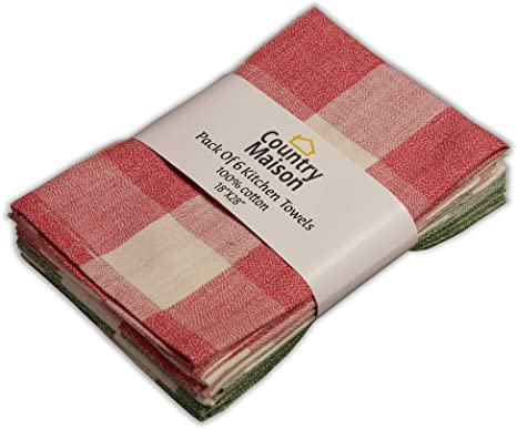 Amazon Com Country Maison Kitchen Towels 100 Cotton Pack Of 6 Absorbent Dish Towels Tea Towels Bar Towels Country Checks Red And Green Home Kitchen