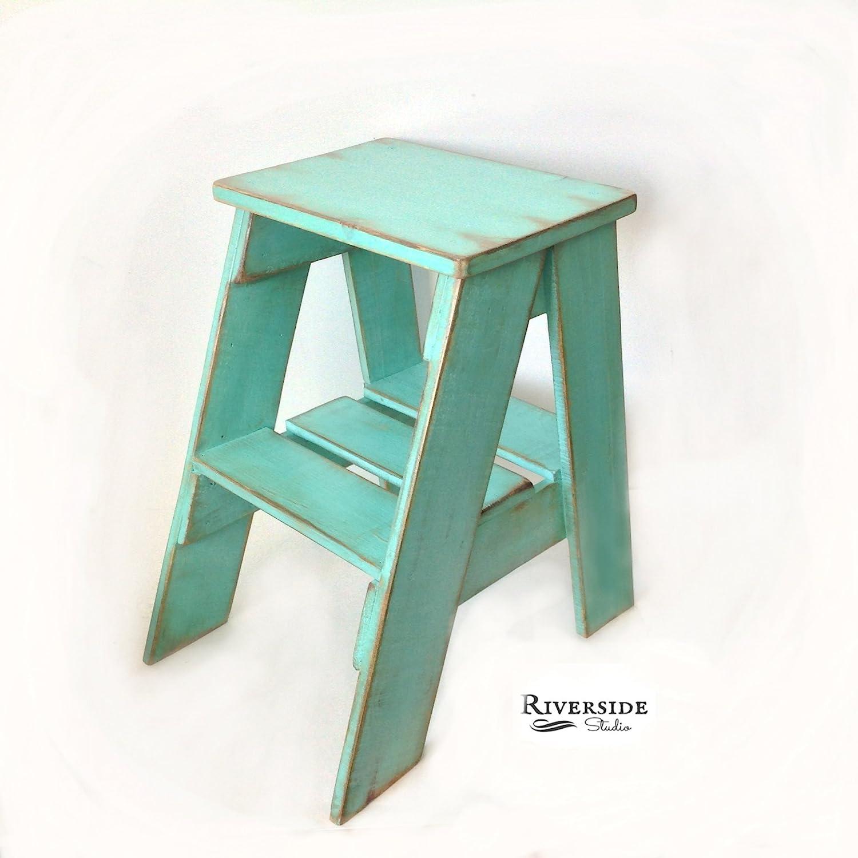 Amazon.com: Rustic Wood Step Stool Shabby Chic Furniture / Bedroom ...