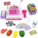 Click N' Play Pretend Play Electronic Calculator Cash Register with Realistic ACTIONS & Sounds (Pink) Toy