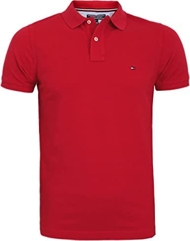 TOMMY HILFIGER - Camiseta de polo para hombre, color azul marino, blanco, talla S/M/L/XL/XXL: Amazon.es: Ropa y accesorios