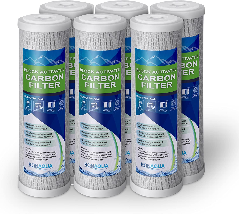 Ronaqua 5 Micron 6 Pack 10 X 2.5 Carbon Block Filter
