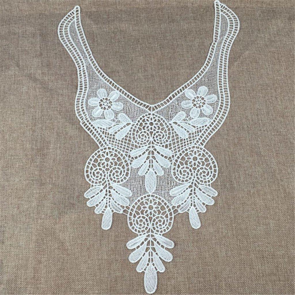 Sharplace DIY Flower Neckline Lace Collar Trim Embellishment Charming Wedding Bridal Applique Sew On Patch Large V Black 51 cm