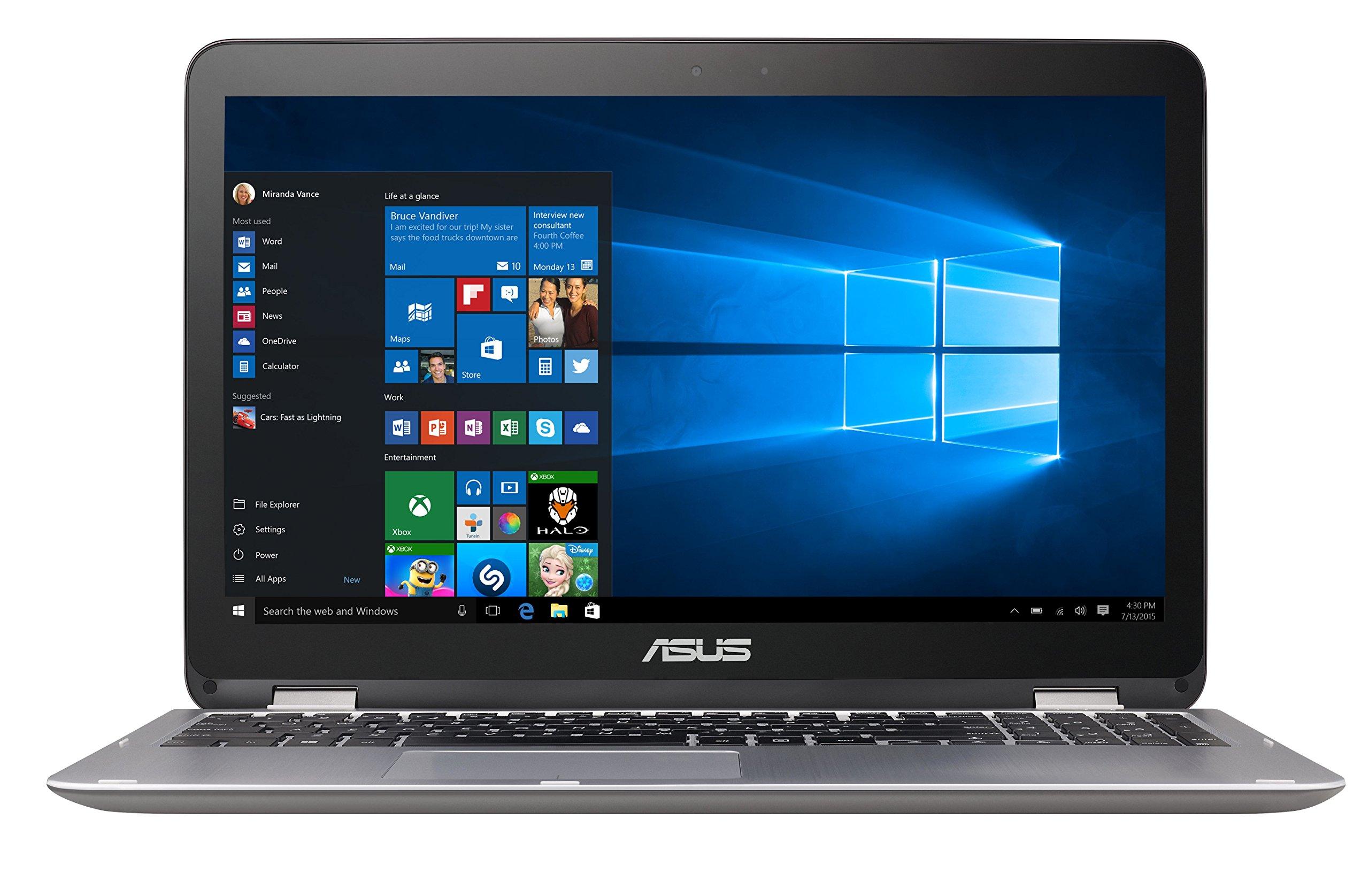 "Asus VivoBook Flip Convertible 15.6"" Touchscreen Laptop, Intel Core i3-6100U 2.3GHz, 4GB DDR4, 128GB SSD, Bluetooth, Windows 10 Home"