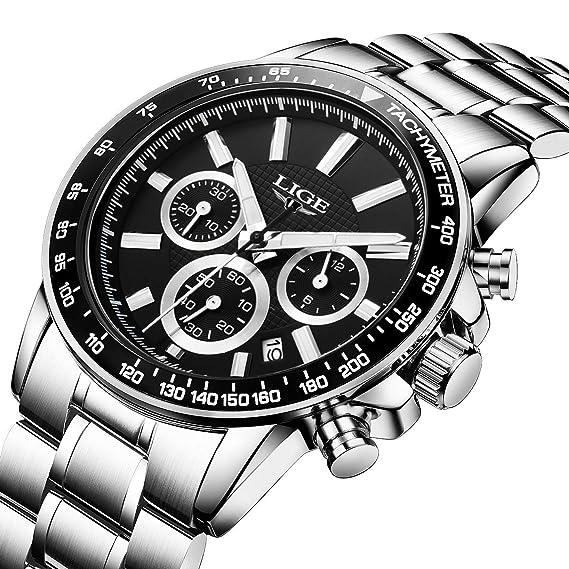 Relojes, relojes hombre, negocios de lujo multifunción resistente al agua con calendario reloj de