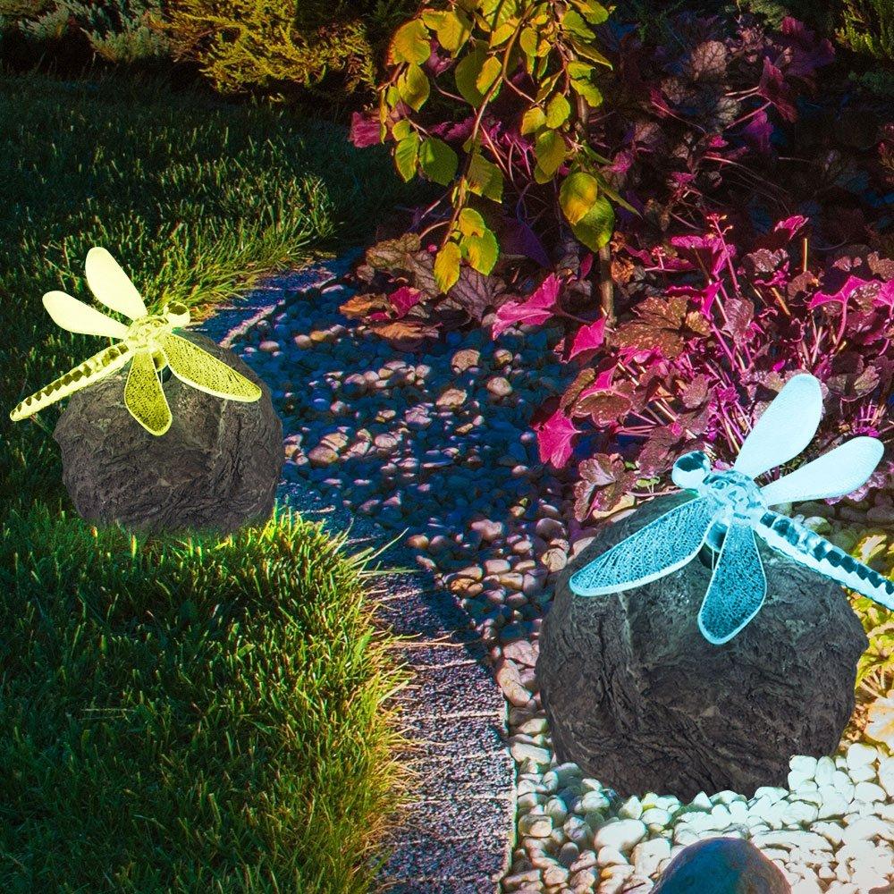4 x LED SOLAR Außen Deko Leuchten Stein Farbwechsler Lampe Blume Kolibri Libelle