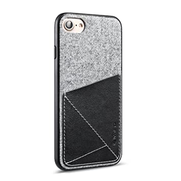 buy online 5689d 13ec6 Case for iPhone 7, iVAPO [Brief Business Style] Trendy Slim Protective  Design for iPhone 7, Genuine Leather Pocket [Black] [Card Case], Premium  Wool ...