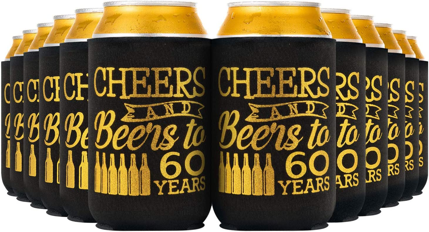 Crisky 60th Birthday Beer Sleeve,Cheers and Beers to 60 Years Birthday Decoration Party Favor Can Covers, 12-Ounce Neoprene Coolers for Soda, Beer, Can Beverage, 12 Pcs