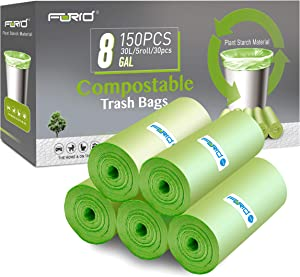 Compostable Trash Bags - FORID 8 Gallon Garbage Bags 150 Count Trash Can Liners 30 Liter Unscented Medium Wastebasket Bags for Kitchen Bathroom Home Office Garbage Can (5Rolls/Green)