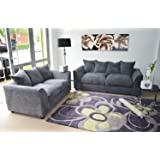 B U THE SOFA EXPERT Byron Grey Fabric Jumbo Cord Sofa Settee Couch 3+2 Seater