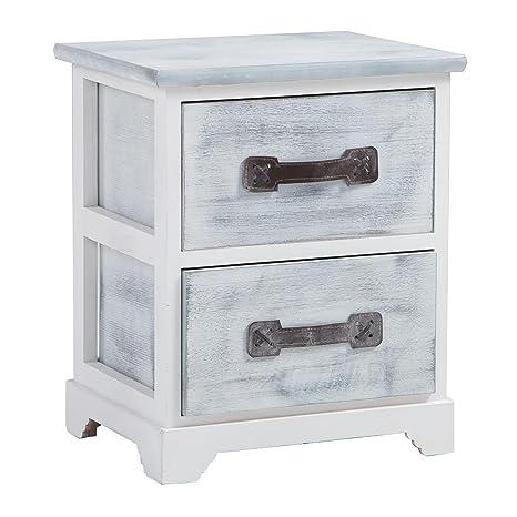CARO-Möbel Nachttisch Salerno Nachtschrank Nachtkommode, mit 2 Schubladen  in weiß grau, Shabby Chic Vintage Look
