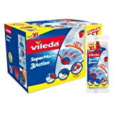 Vileda SuperMocio 3Action XL Mop and Bucket Set with Extra Refill, Red
