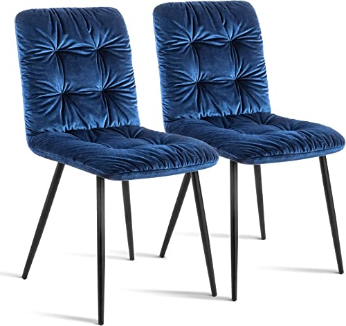 Ivinta Modern Dining Chairs Kitchen Dining Room Chairs Mid Century Velvet Accent Chair Living Room Chairs Armless Chairs Sapphire