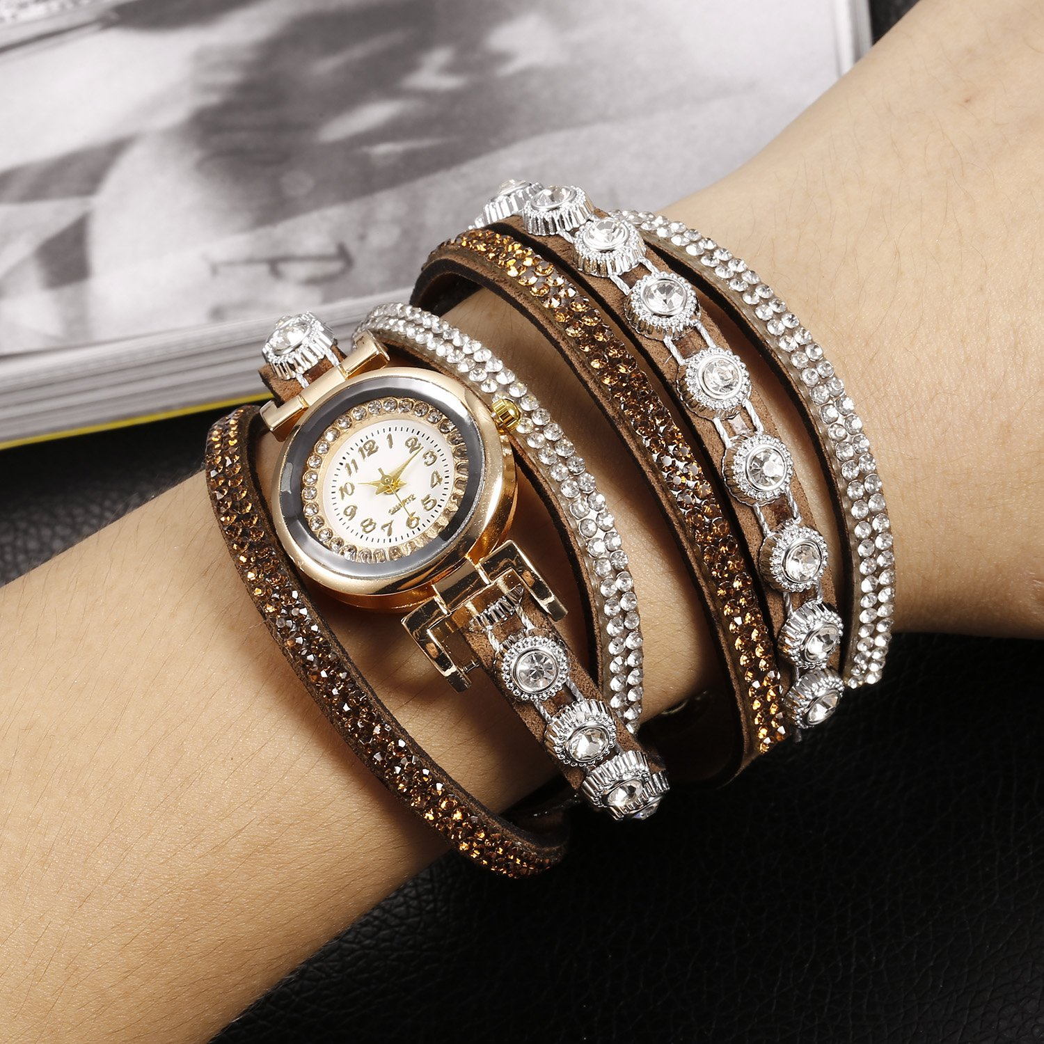 Zouvo Women Fashion Casual Decor Round Rhinestone Bracelet Watch (Coffee)