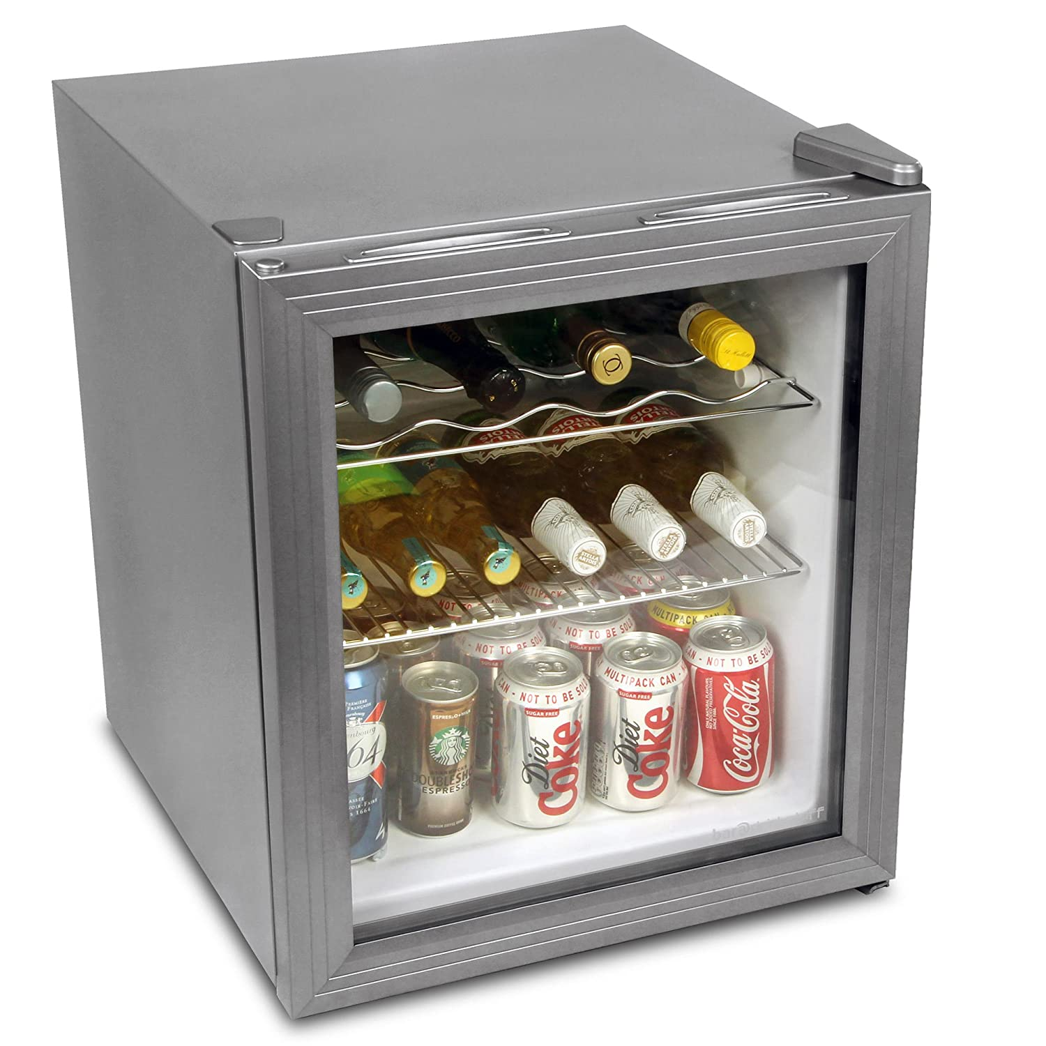 bar@drinkstuff Frostbite Wine Fridge 49ltr Silver - 49ltr Mini Fridge Wine Chiller and Mini Fridge