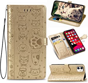 CaseHQ Case Compatible with iPhone 11, Premium PU Leather Wallet case [Wrist Strap] Flip Folio [Kickstand Feature] with ID&Credit Card Pockets for iPhone 11 6.1 inc,Gold