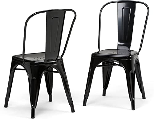 Simpli Home Fletcher Industrial Metal Dining Side Chair Set of 2