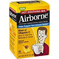 Airborne Blast of Vitamin C Hot Soothing Mix Immune Support Supplement Packets Honey Lemon , 10 CT (Pack of 6)