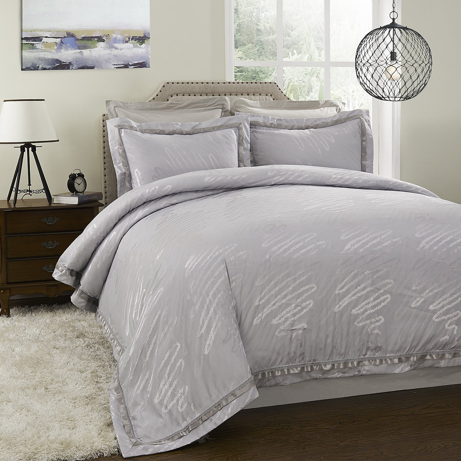 Poly silk cotton Jacquard Bedding Silver Duvet Cover Set