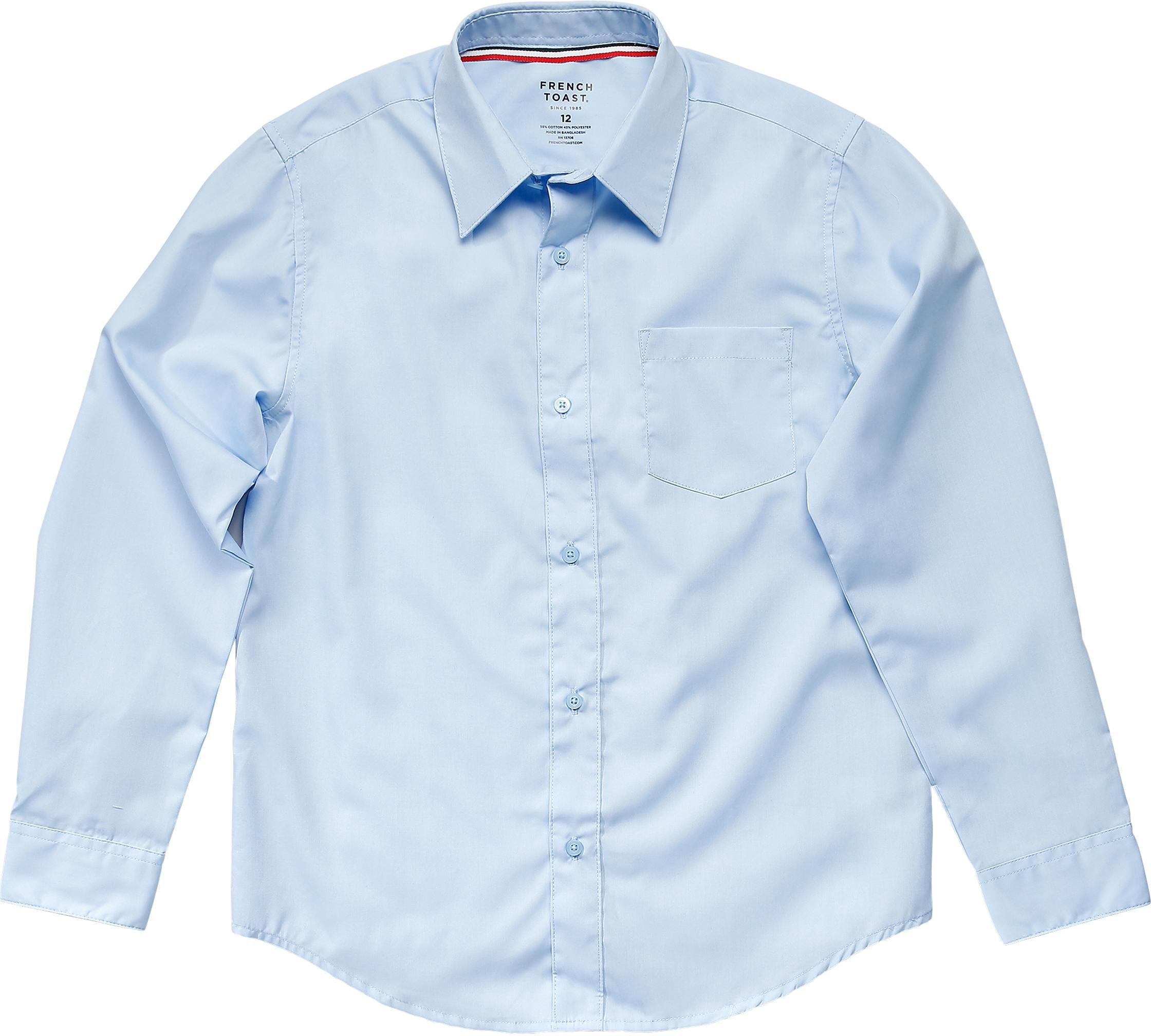 French Toast School Uniform Boys Long Sleeve Classic Dress Shirt, Blue, 6