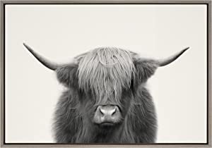Kate and Laurel Sylvie Hey Dude Highland Cow Framed Linen Textured Canvas Wall Art by The Creative Bunch Studio, 23x33 Gray, Chic Animal Art for Wall