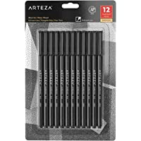 Arteza Fineliner Pens, Black, Set of 12, Ultra Fine Tip Markers, 0.4 mm Tips, Fine tip Pen Set for Drawing, Sketching, Writing, and Taking Notes