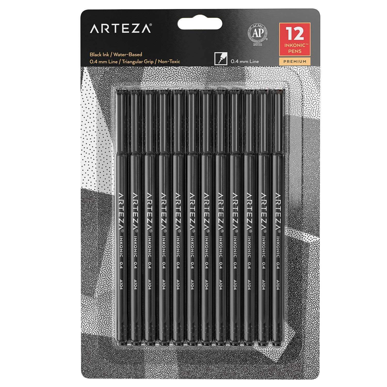 ARTEZA Fineliner Fine Point Pens, Fine Tip Markers, Black Color (0.4 mm Tips, Set of 12) by ARTEZA