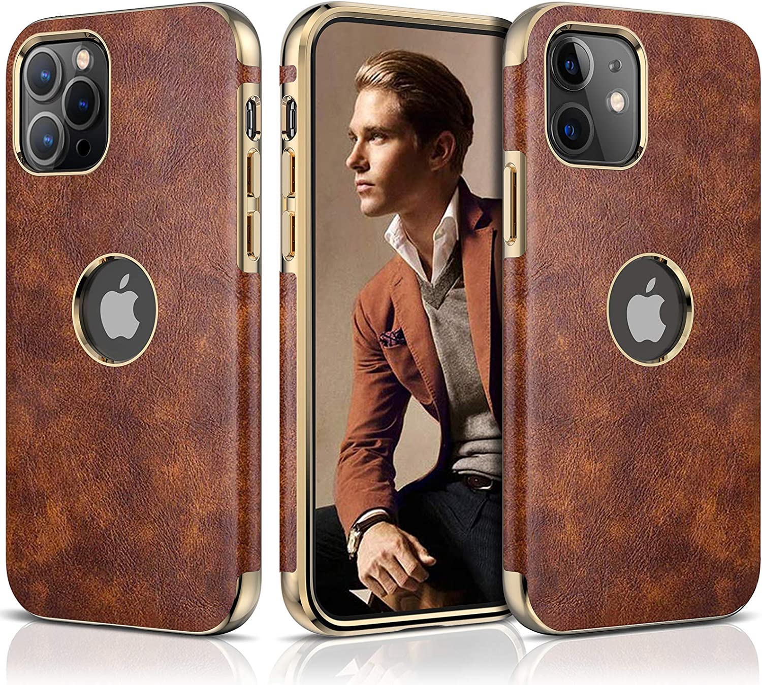 LOHASIC for iPhone 12 Pro Leather Case, Men Women Luxury Cover for iPhone 12 Slim Soft PU Flexible Bumper Non-Slip Grip Anti-Scratch Full Body Protective Phone Cases for iPhone 12/12 Pro 6.1