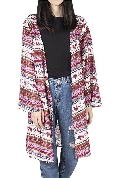 Lofbaz para Mujer Kimono de (Impreso) Blusas con Estampado de rayón - Elephant 16. Pasa ...