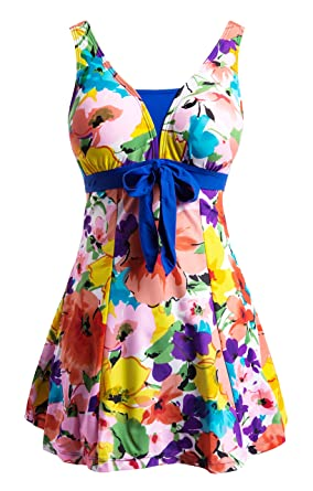 42402ec6e2abd Wantdo Women s Summer Plus Size Halter Swimdress Cover Up Swimwear Orange  Flower 18W-20W