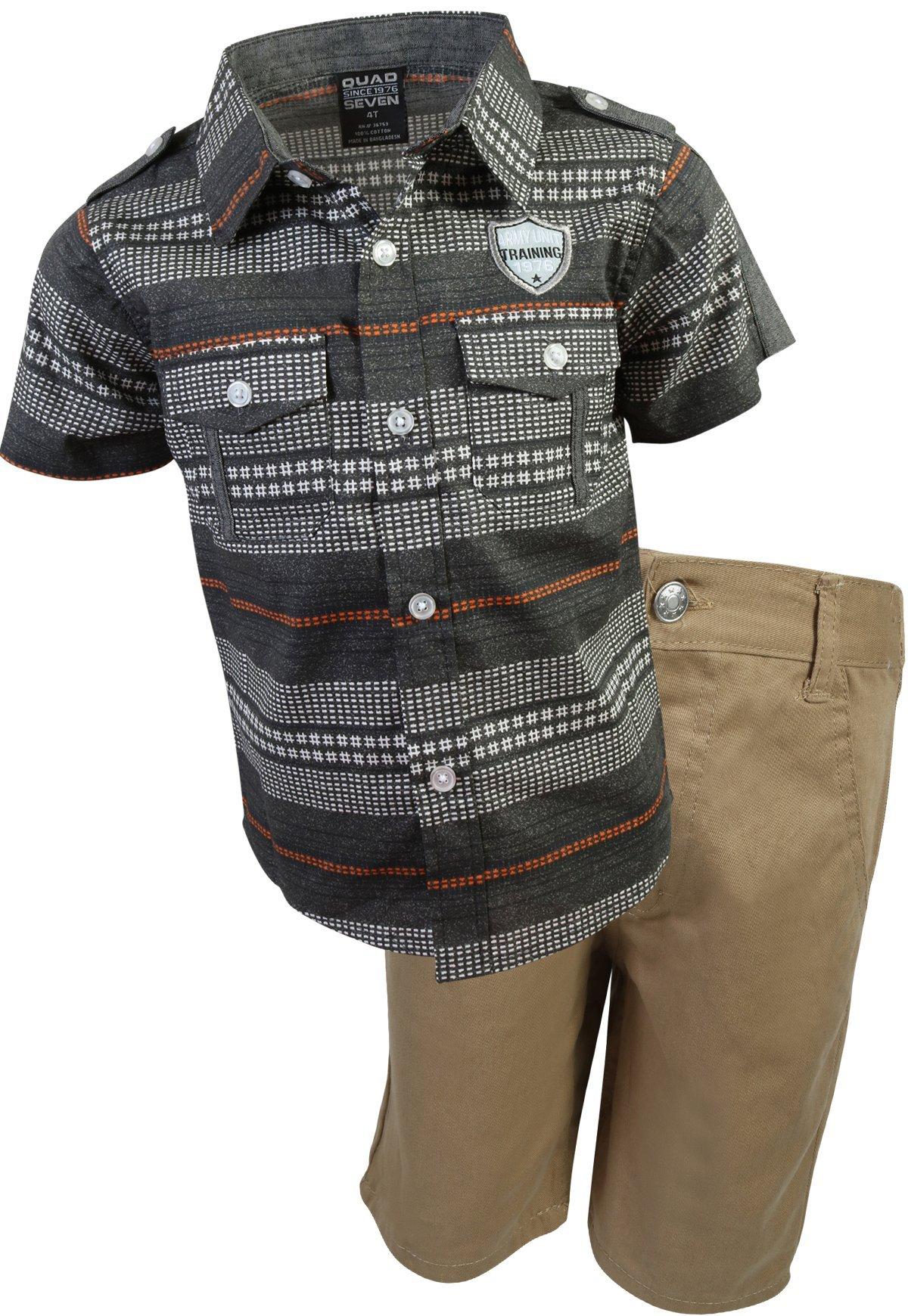 Quad Seven Boys Short Set Woven Top and Twill Shorts, Black Denim/Khaki, Size 3T'
