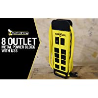 Yellow Jacket 5148 Modern 8-Outlet Metal Power Block with 2 USB Ports (Yellow)