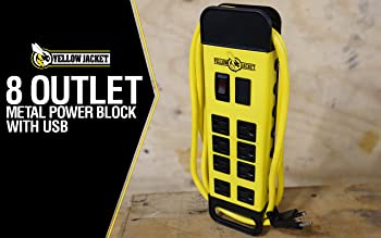 Yellow Jacket 5148 Modern 8-Outlet Metal Power Block