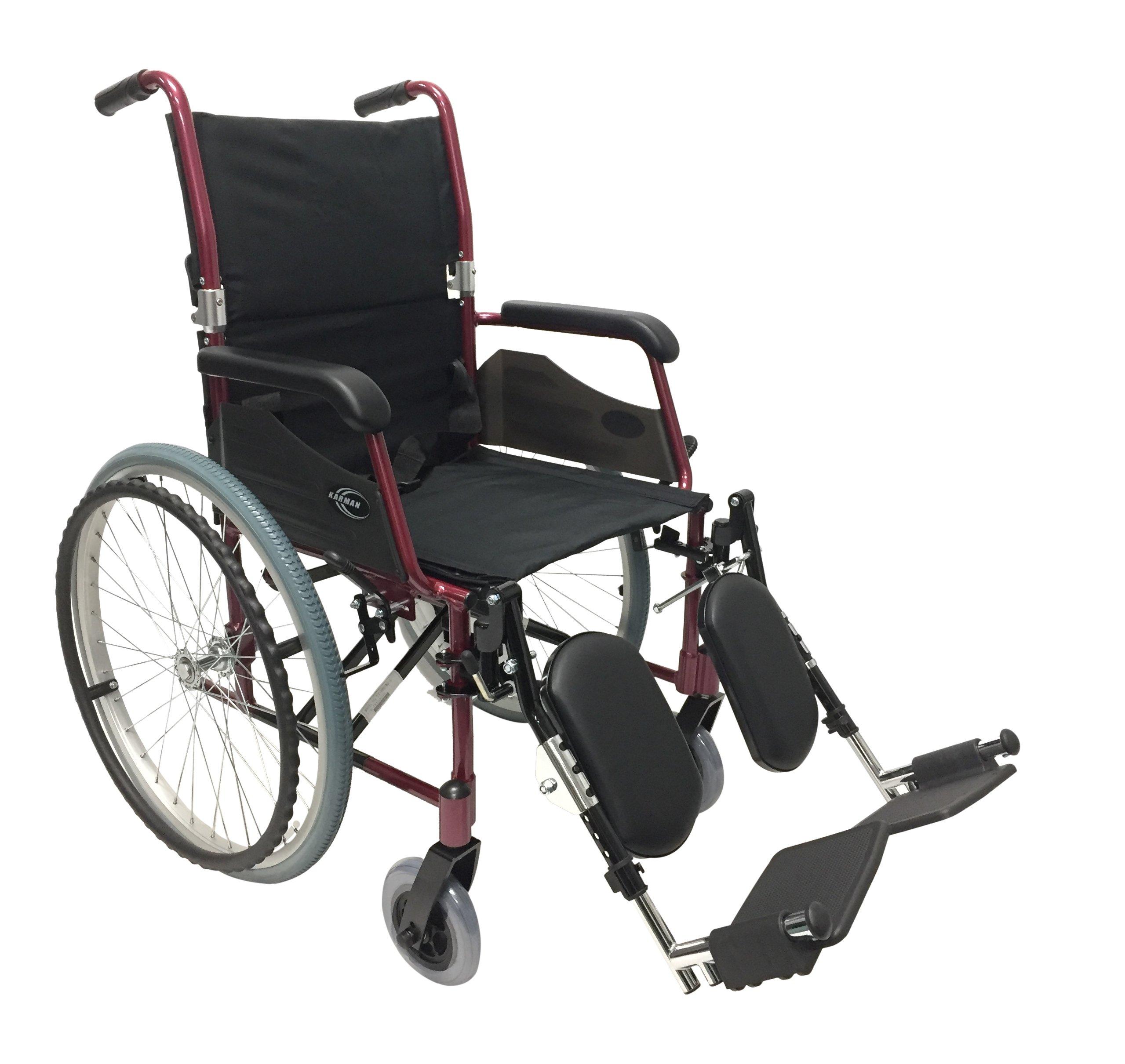 Karman 24 Pound Ultra Lightweight Wheelchair In Burgundy with Elevating Leg Rest