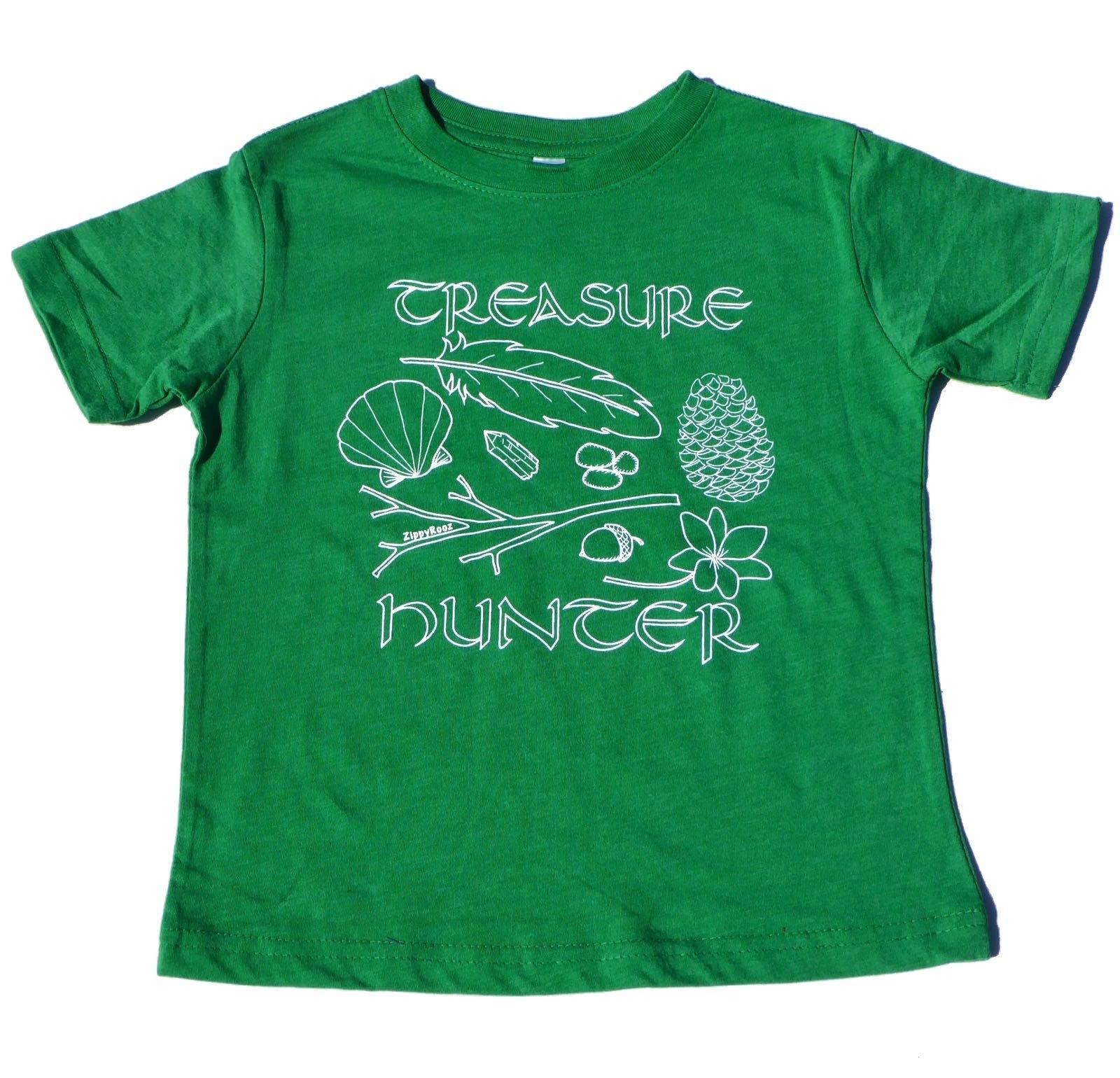 ZippyRooz Boys Toddler & Little Kids Hiking Camping Tee Shirt Treasure Hunter (3T)