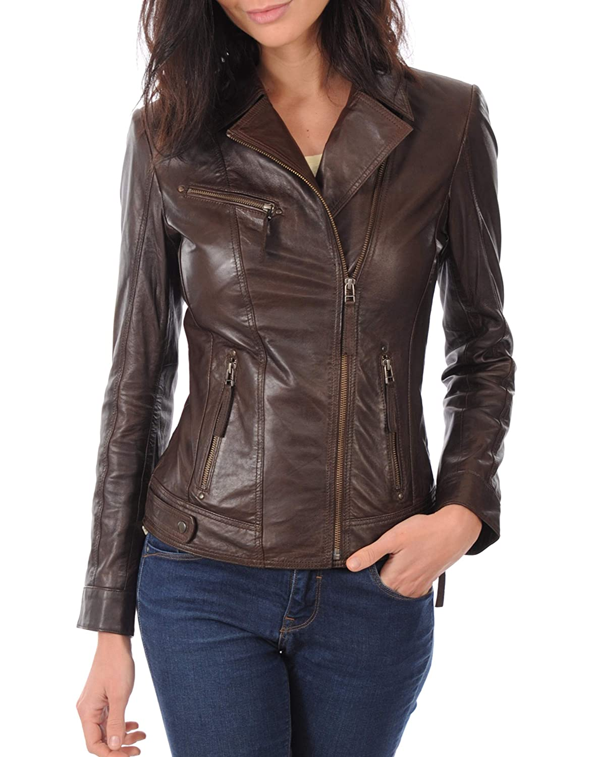 Browns10 DOLBERG CREATIONS Sheepskin Leather Jacket for Womens