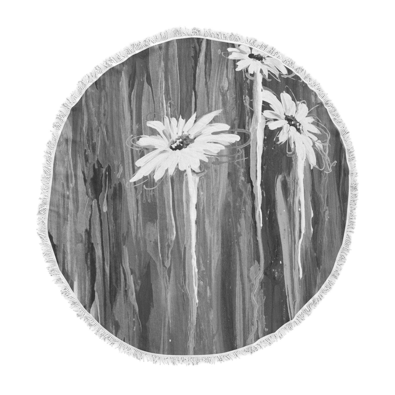 Kess InHouse Brienne Jepkema Daises Gray Flowers Round Beach Towel Blanket