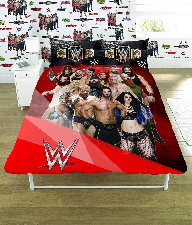 WWE 2K17 Face Vs Heel Single Panel Duvet Cover Bed Set Gift 2 in 1 Reversible