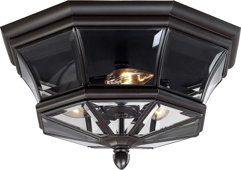 Quoizel NY1794Z Newbury Outdoor Flush Mount Ceiling Lighting 120 Watts 3-Light Medici Bronze 8 H x 15 W