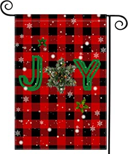 Christmas Joy Garden Flag Outdoor 12.5 x 18 Inch Inspired Cardinal Holy Decoration Red Buffalo Plaid Winter Double Sided Religious Farmhouse Decorations Rustic Joy Xmas Yard Sign Decor for Patio Porch