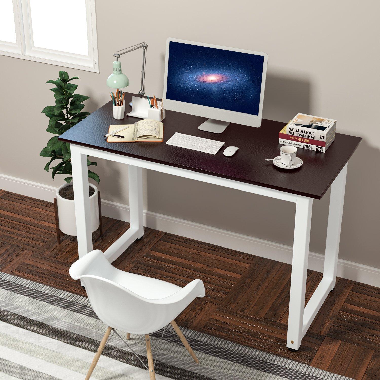 HOMFA Mesa de Ordenador Escritorio de Oficina Mesa de Estudio Mesa de Recepción de Color Marrón 110x53x74cm