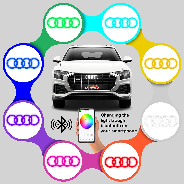 Motorfox Led Emblem K/ühlergrill Ringe Logo Mehrfarbiges Bluetooth RGB Wasserdicht Smartphone Gesteuert A1 A3 A4 A5 A6