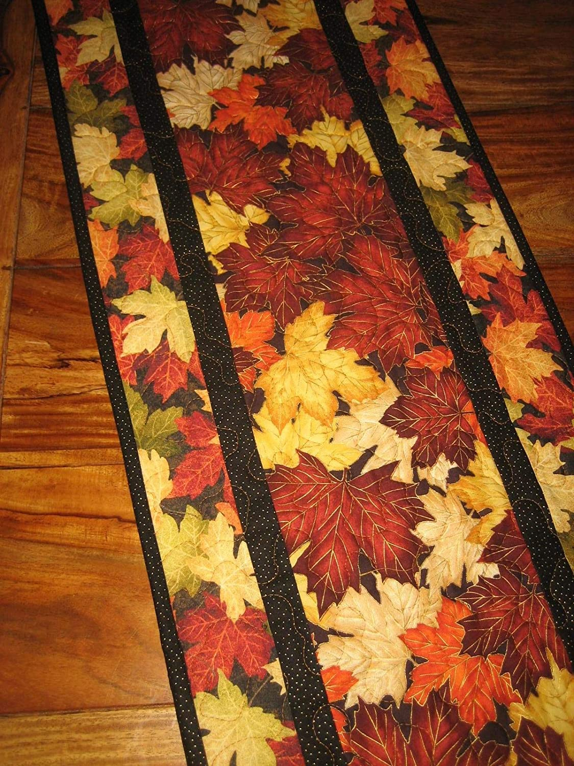 Fall Table Runner, Rust Gold Autumn Leaves, Reversible, Quilted 13 x 48
