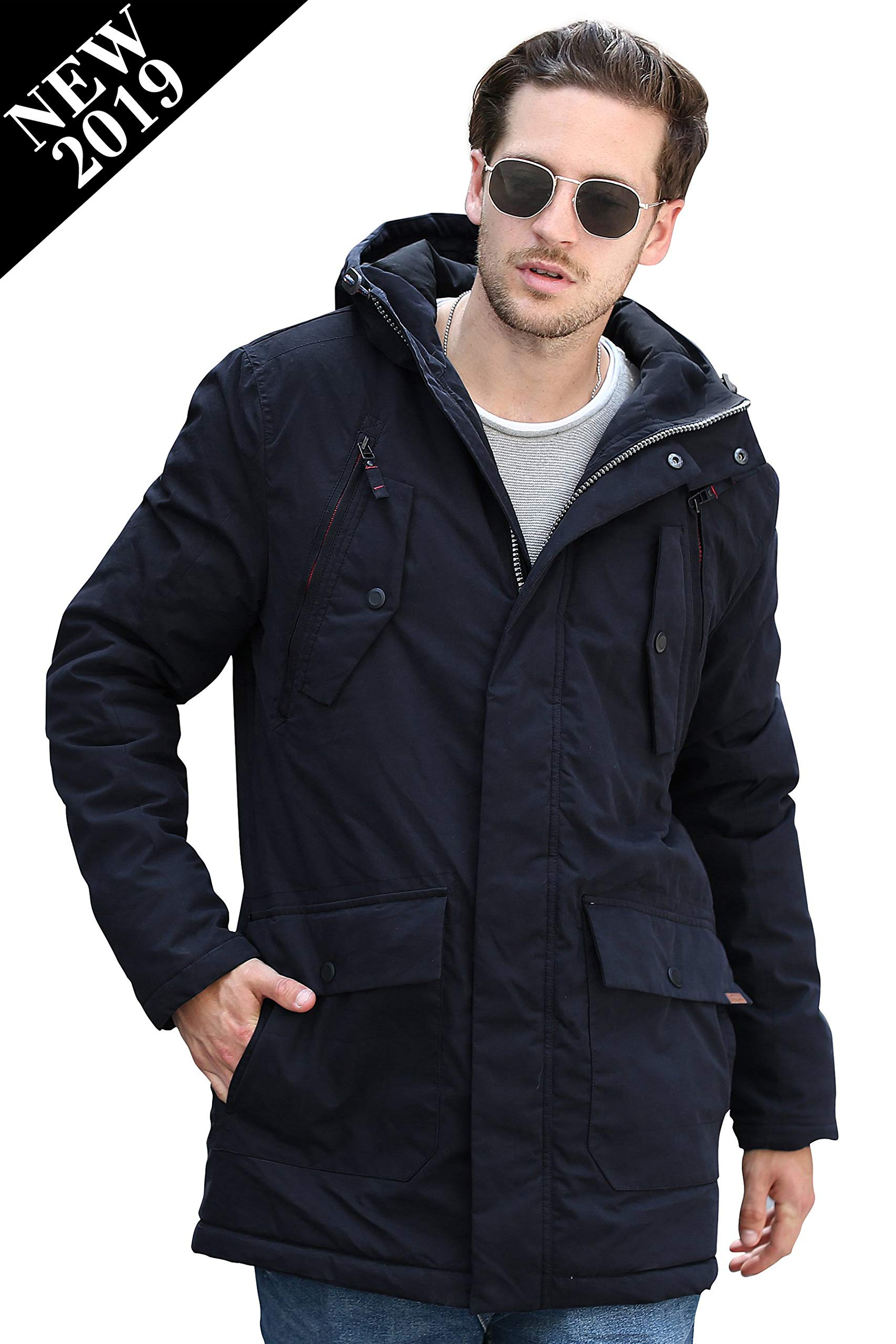 YsCube 2019 Men Parka, Warm Insulated Parka, Men Winter Jacket, Waterproof Down Parka Coat