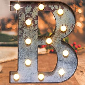 Vintage Illumination Led Marquee Letter Lights,Iron Effect Industrial Style Light Up Alphabet Letter Sign for Cafe Wedding Birthday Party Christmas Lamp Home Bar Initials Decor(Rusty letter B)