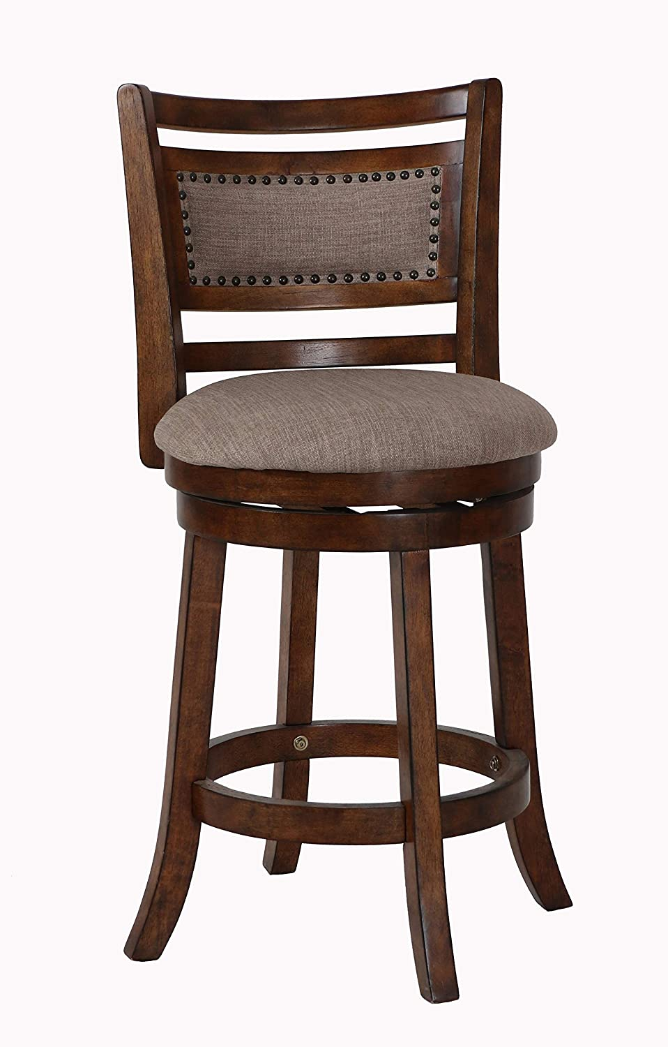 New Classic Furniture New Classic Aberdeen Swivel Counter Stool, Dark Brown, 24-Inch