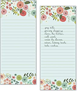 Set of 2- Teal/Coral Flowers List Pad, Notepad, Shopping List with Attachable Magnet
