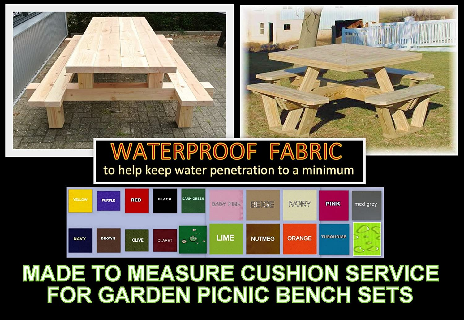 Made to Measure - Quote & Fabric Samples for waterproof Cushions & Covers - Picnic Benches - Pallet Furniture - Rattan Furniture - Garden Furniture - Campervans - Caravans & Boats - Over 20 Colours Zippy UK Ltd