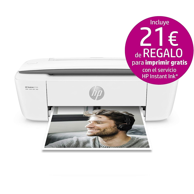 HP DeskJet 3750 - Impresora de tinta multifunción (8 ppm, 4800 x 1200 DPI, A4, Wifi, Escanea, Copia, 60 hojas, Modo silencioso), Blanca