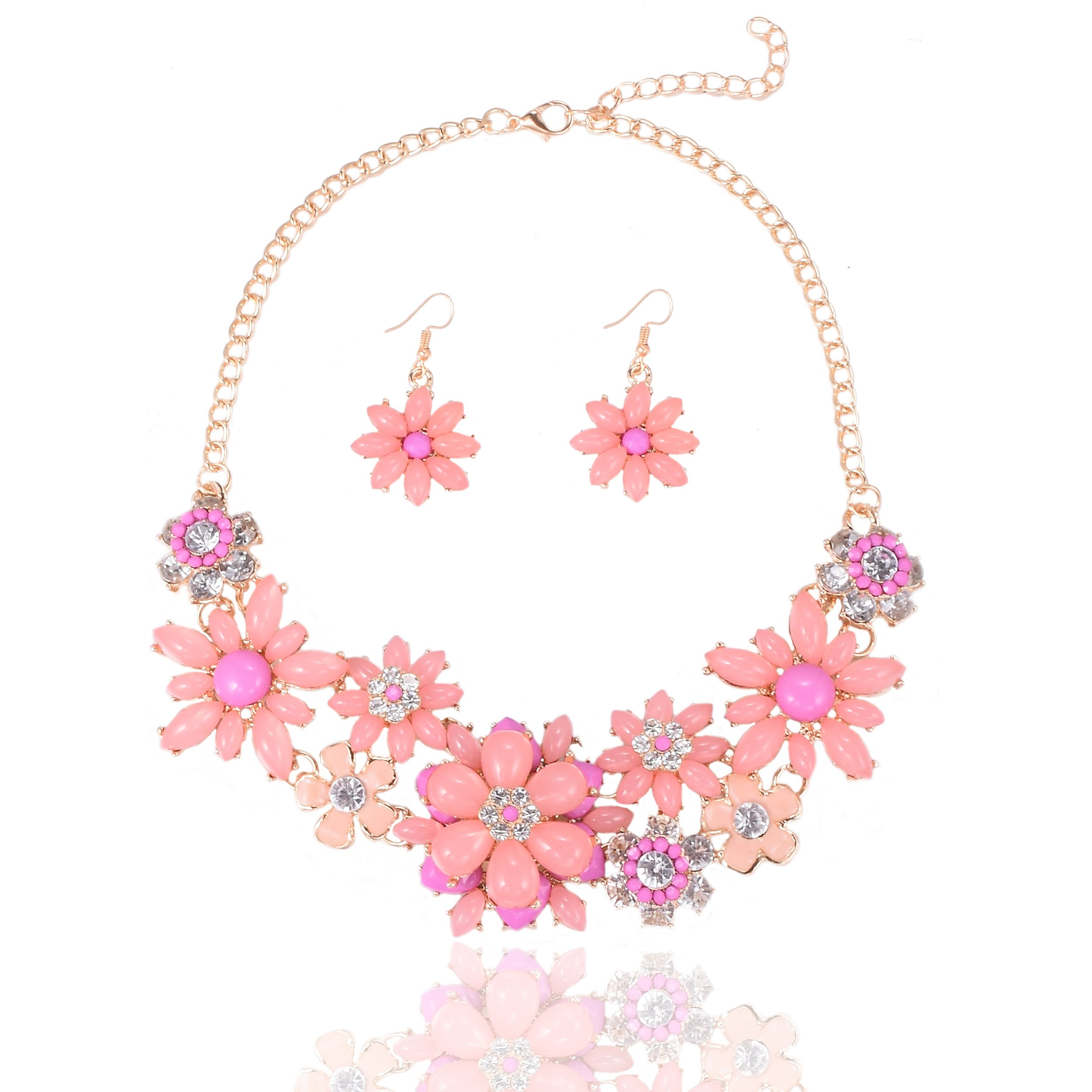 Yuhuan Flower Chunky Statement Necklace Rhinestone Costume Jewelry for Women (Pink-1)