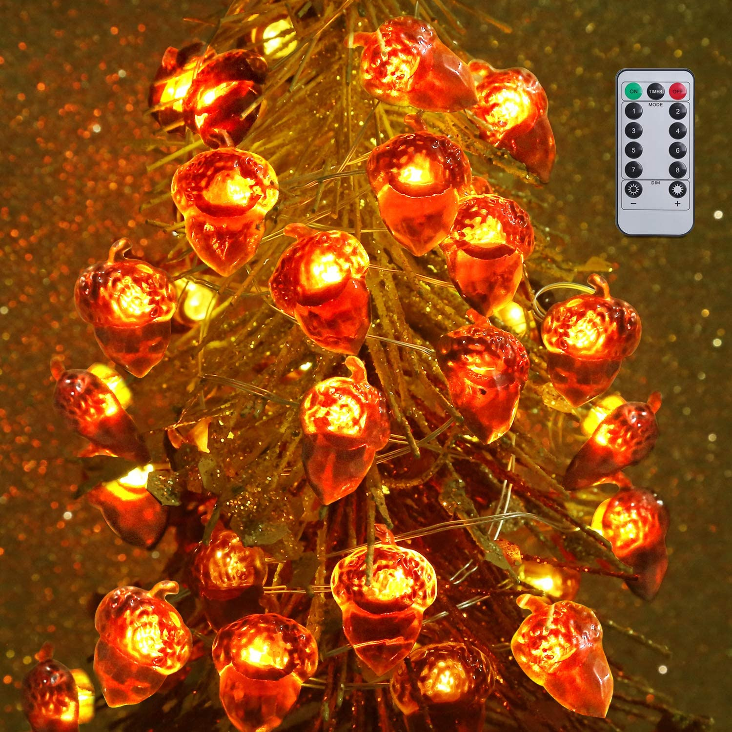 Huishang Fall Decorations, Acorn String Lights with 40 LED, Battery Operated Thanksgiving Lights for Outdoor Indoor Thanksgiving Decor, 8 Flicker Modes, Remote & Timer